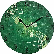 LDIYEU Art Green Blossom Round Wall Clock Circular