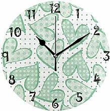 LDIYEU Art Green Heart Spot Round Wall Clock