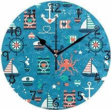 LDIYEU Art Octopus Boat Round Wall Clock Circular