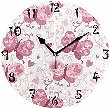 LDIYEU Art Pink Butterfly Round Wall Clock