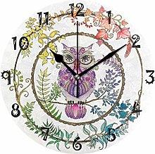 LDIYEU Art Purple Flower Night Owl Round Wall