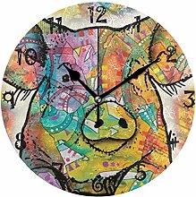 LDIYEU Art Rainbow Funny Pig Round Wall Clock