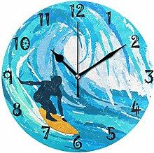 LDIYEU Art Sea Surfing Round Wall Clock Circular