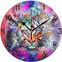 LDIYEU Art Tiger Round Wall Clock Circular Plate