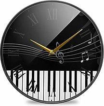 LDIYEU Black White Piano Music Round Wall Clock