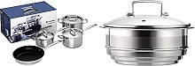 Le Creuset 3-Ply Stainless Steel Cookware Set, 4
