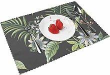 Leaf Adilla Dark Botanical Sales Table mat 4 piece