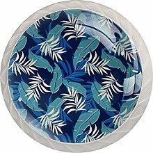 Leaf Plant Blue 4 Pieces Crystal Glass Wardrobe