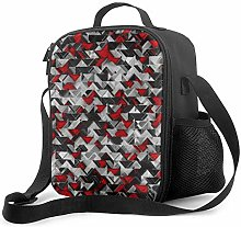 Leak-Proof Lunch Bag Tote Bag, Black and Red