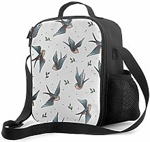 Leak-Proof Lunch Bag Tote Bag, Blue Bird Cooler