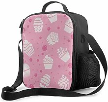 Leak-Proof Lunch Bag Tote Bag, Cupcakes Seamless