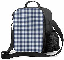 Leak-Proof Lunch Bag Tote Bag, Dark Blue and White