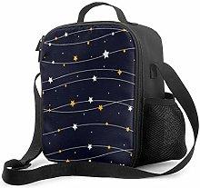 Leak-Proof Lunch Bag Tote Bag, Dark Blue Star