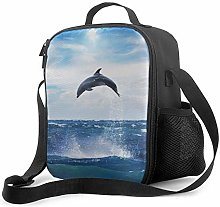 Leak-Proof Lunch Bag Tote Bag, Dolphin Cooler Bag