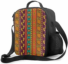 Leak-Proof Lunch Bag Tote Bag, Ethnic Tribal