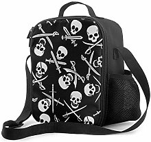 Leak-Proof Lunch Bag Tote Bag, Pirate Skull Cooler