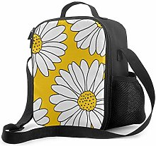 Leak-Proof Lunch Bag Tote Bag, Yellow and White