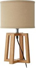 Leap Light Brown Fabric Shade Table Lamp With
