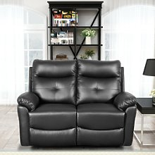 Leather 2 Seat Sofa Recliner Set Corner Couch