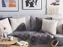 Leather Area Rug Dark Grey Sheepskin Fluffy Throw