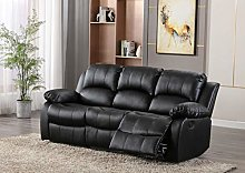 Leather Black 3 Seater Reclining Family Sofa,
