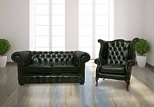 Leather Chesterfield Suite Antique Green |