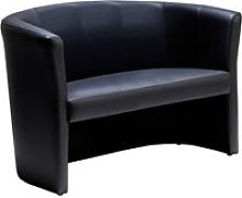 Leather Faced Tub Sofa, Black