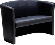 Leather Faced Tub Sofa, Black