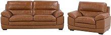 Leather Living Room Set Golden Brown HORTEN