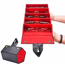 Leather Multiple Glasses Storage Case, 5-Slot