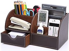 Leather Office Desktop Organizer with Drawer, Pen