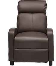 Leather Recliner Armchair Sofa Chair Dark Brown