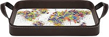 leather tray, Decorative Vanity Tray, World Map