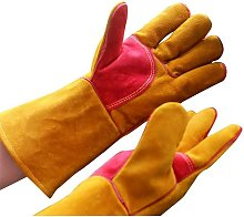 Leather Work Gloves, Yellow Stitching