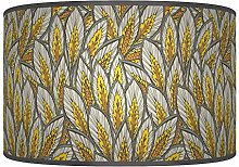 Leaves Floral Mustard Yellow Grey Giclee Style