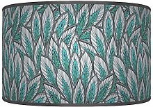 Leaves Floral Teal Blue Grey Giclee Style Printed