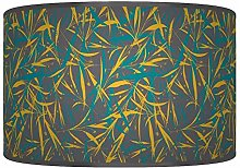 Leaves Floral Teal Mustard Grey Giclee Style