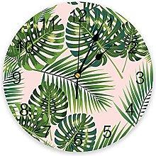 Leaves Pink 3D Wall Clock Modern Design Living