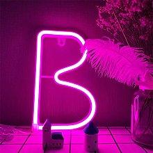 LED Alphabet B Neon Night Lights Pink Neon Letters