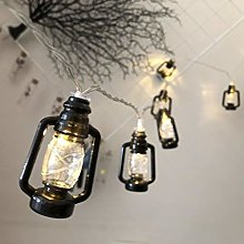 LED Black Lantern String Lights Mini Kerosene Lamp