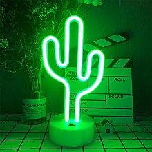 LED Cactus Shaped Neon Signs Light with Holder