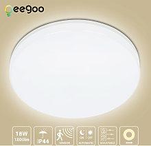 LED Ceiling Light with Motion Sensor, Oeegoo 18W 1800LM Ceiling Sensor Light(Adjustable), IP44 Waterproof Flush Mount Ceiling Lighting for Garage, Basement Rooms, Hallway, Entryway, Bathroom ?28cm