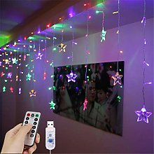 LED Curtain Lights, 1.5m x 0.5m USB 48LED Star