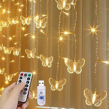 LED Curtain Lights, 3m x 1m USB 128LED Butterfly