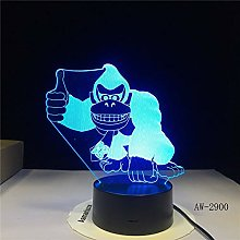 LED Cute Animal Monkey Table Lamp 3D Visual