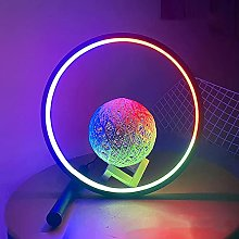 LED Desk Lamp, Circular Design Metal Bedside Desk