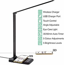 LED Desk Lamp with Wireless Charger, USB Charging