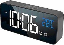 LED Digital Alarm Clock, Rechargeable Mirror Alarm