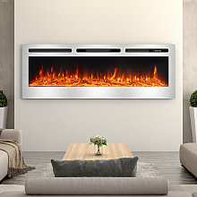 LED Electric Wall Mounted Fireplace Recessed Fire