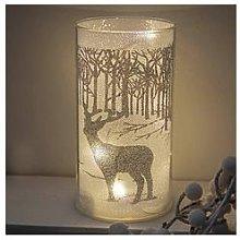 Led Glass Light Tube With Silver Reindeer Scene